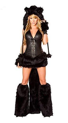 DLucc Halloween-Kostüme Anime Cosplay schwarze Plüschtier Katze -Mädchen verkleiden sich Cosplay Kostüm