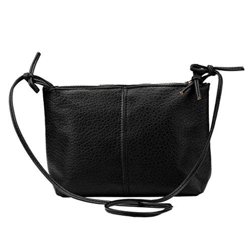bolsos de las mujeres, FEITONG 1PC faux de las mujeres del bolso de hombro bolsa de cuero mensajero especial bolso (Negro)