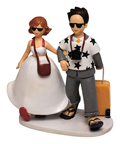 Mopec Y572 - Wedding cake figure couple of bride and groom travelers, 19 cm