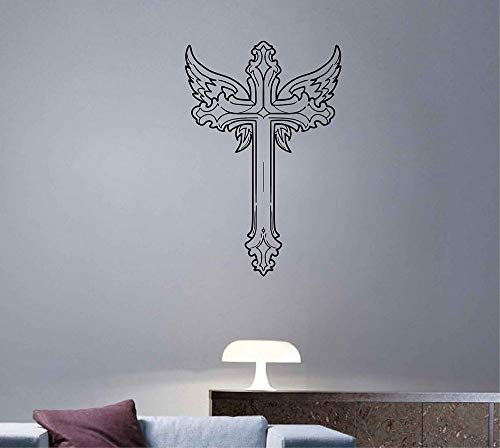 Christian Cross Vinyl Wandtattoo Kreuz Wandkunst Schrift Aufkleber Wandtattoo Art Chritian Dekoration Christian Decals ik3881 (Christian Art Cross)