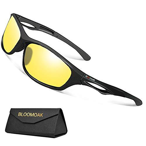 Bloomoak Nachtfahrbrille Polarisierte Gläser filtern Blendende Blendung durch Scheinwerfer / TR90 Bruchsicherer Rahmen/TAC-Objektiv - zum Laufen/Radfahren/Fahren