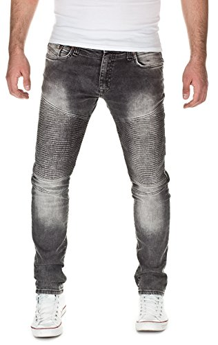 ReRock Herren Jeans im Biker Style Slim Fit Grau