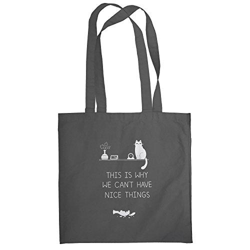 Texlab–No NICE THINGS–sacchetto di stoffa Grau