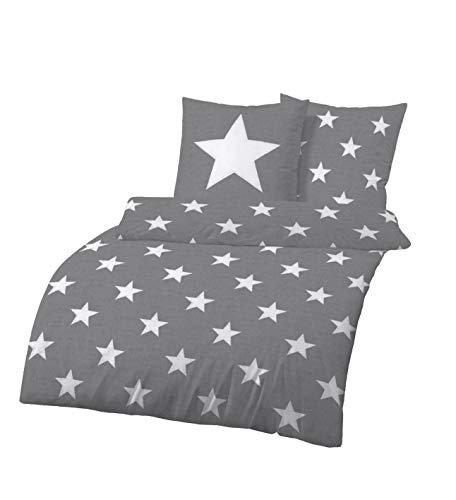 Dobnig Bettwäsche 135x200 Sterne Baumwolle   Bettwäsche Grau mit Sternen   Winter Bettwäsche Set   Sternen Bettwäsche Biber   100{1afb4dbba0b9942114e6335755851bbbcd72ccadf09ea24fac0f1d150ad538ee} Baumwolle