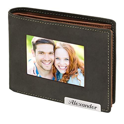 Cadenis Herren Leder Geldbörse mit großem Fotofach und persönlicher Laser-Gravur aus Rindsleder braun Querformat 12 x 9,5 cm