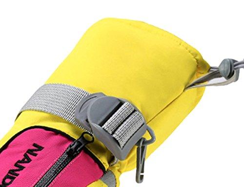 Panegy Gants de Ski Enfant Adulte Femme Homme Gants de Sports en Velours Anti-Froid Étanche Antidérapant Matelassé en Coton Chaud Hiver Extérieurs pour Camping Randonnée Cyclisme XS-XL Multicolore Jaune