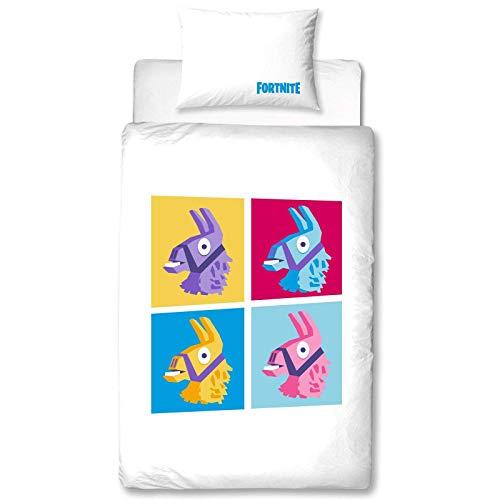 Fortnite Einzelbettwäsche, Llama-Design, wendbar, zweiseitig, Battle Royale, Bettbezug mit passendem Kissenbezug, Mehrfarbig -