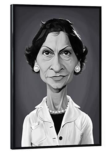 artboxONE Poster mit schwarzem Rahmen 30x20 cm Menschen Coco Chanel - Bild Coco Chanel Designer Sixties
