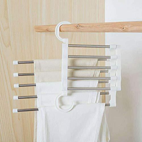 Home Vierfach-haken (Mehrschichtige hängende Hosen-Speicher-Zahnstange 5-in-1 magische Aufhänger-magische Hosen-Zahnstange Edelstahl-Multifunktionshosen-Hosen-Zahnstange (weiß))