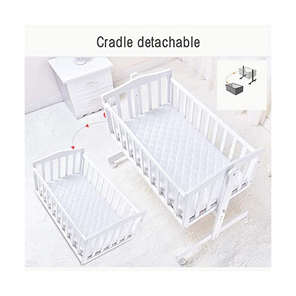 RUNQIAN Swinging Crib, Deluxe Multifunction Gliding Crib White RUNQIAN Create a relaxing sleeping area for your precious child and feel like you are swaying in your arms Suitable from birth to 6 months Simple locking device for easy locking in the rest position 3