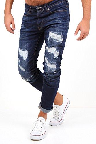 NDN Herren Jeans Slim Fit Destroyed Zerrissen Patch Denim Stretch Hose + GRATIS  Turnbeutel Gymbag wasserdicht ...