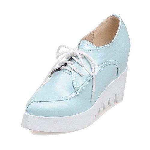 VogueZone009 Donna Allacciare Tacco Alto Luccichio Puro Scarpe A Punta Punta Chiusa Ballerine Azzurro