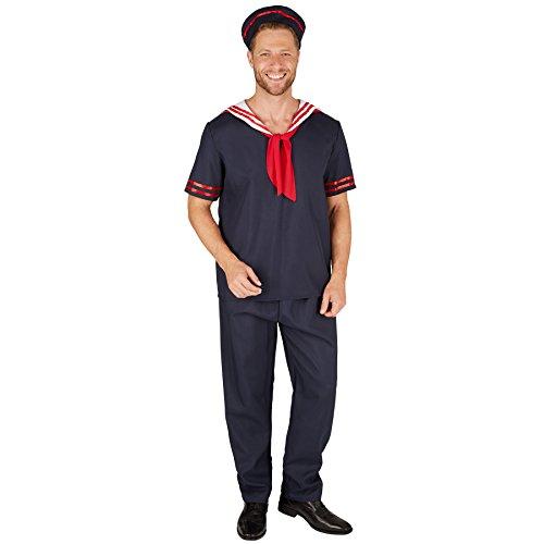 Stadt Party Sexy Kostüm - TecTake dressforfun Herrenkostüm Matrose | Kurzärmeliges Oberteil und strapazierfähige Hose | inkl. Mütze (M | Nr. 301455)