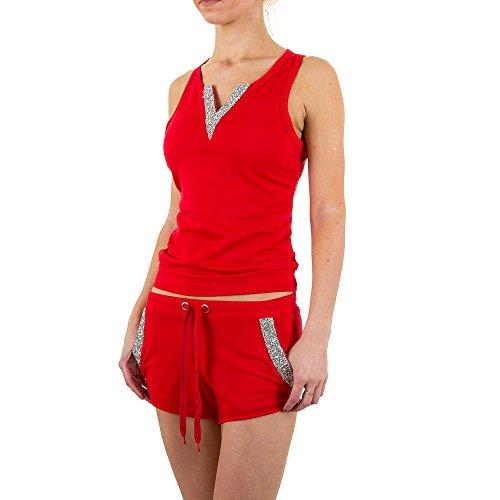Freizeit Zweiteiler Strass Anzug Für Damen bei Ital-Design Rot