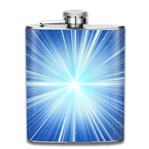 FGRYGF Edelstahlflasche Blue Shining Rays Stars Fashion Portable Stainless Steel Flachmann Whiskey Bottle for Men and Women 7 Oz