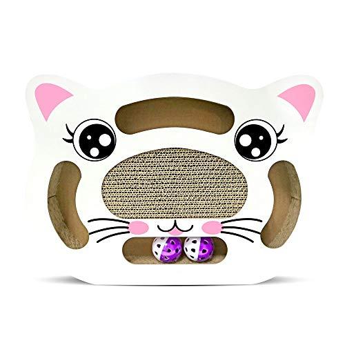 SCCL Wellpappe Rest Bett Spiel Ball Schleifen Kratzt Drei Ovale Herzförmige Katze Gesicht Form Braun Rosa Weiß Drehscheibe Lustige Katze Spielzeug Ball Katze Kratzer Bord Spitzer Eine intime Reise