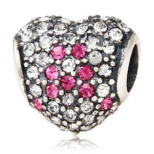 Ciondolo con nastro rosa, argento Sterling 925, con perle, colore: rosa trasparente