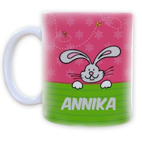 Striefchen® Tasse mit Osterhasen für Mädchen Name: Annika