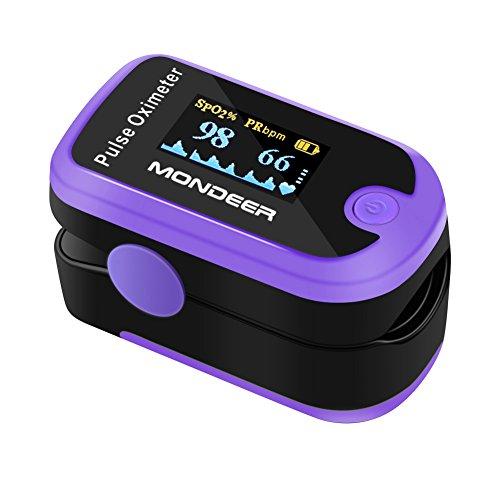 Mondeer Pulseoximeter für die Messung des Puls, Pulsmesser Finger, Sauerstoffsättigung Messgerät, Fingerpulseoximeter, Sauerstoffmessgerät mit OLED Farbdisplay am Finger, zertifiziertes Medizinprodukt (Purple)