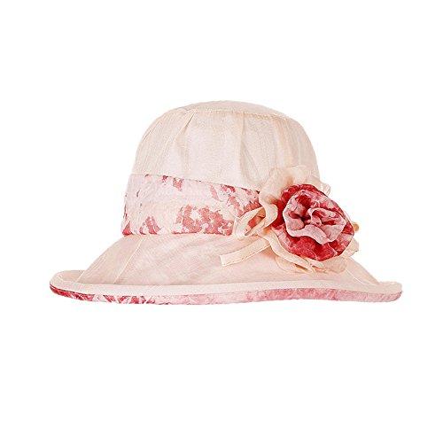 Sombreros de Panamá Mujeres Niñas Flor Al Aire Libre Playa Primavera Verano Sombrero de Sol Rosa B