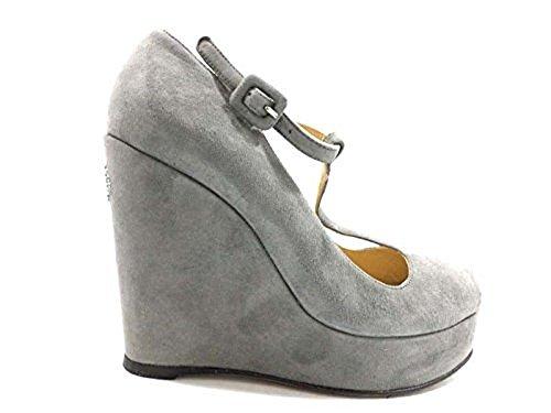 scarpe donna TWIN-SET 37 sandali zeppa camoscio grigio WH297