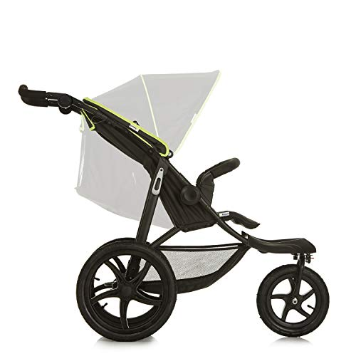 Hauck Runner, Jogger Style, 3-Wheeler, Pushchair with Extra Large Air Wheels, Foldable Buggy, for Children from Birth to 25kg, Lying Position - Black Neon Yellow