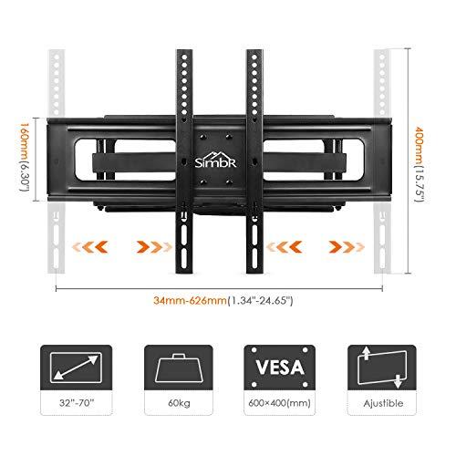 """41E5lN Zs9L - SIMBR Soportede Paredpara TV 32-70"""" PantallaLED/LCD/Plasma/Curva Televisión CargaMáxima60kgVESAMáxima600×400mm Inclinable y BrazosGiratorios"""