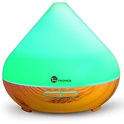 TaoTronics Humidificador aromaterapia ultrasónico 300 ml, difusor de aceites esenciales, (7 colores, luz nocturna, temporizador, auto-apagado, ambientador 2 modos) para Yoga, dormitorio, oficina, bebé