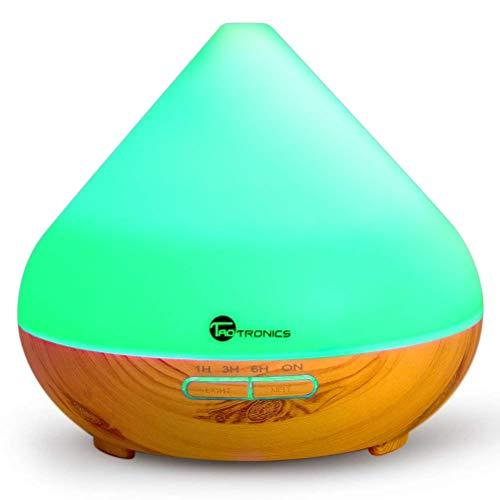 TaoTronics 300ml Humidificador Aromaterapia Difusor Aroma de Aceites Esenciales (Luz nortuna, 2 Modos, ambientador de Vapor frío, 7 Colores, Auto-apagamiento) 13W para Yoga, Dormitorio
