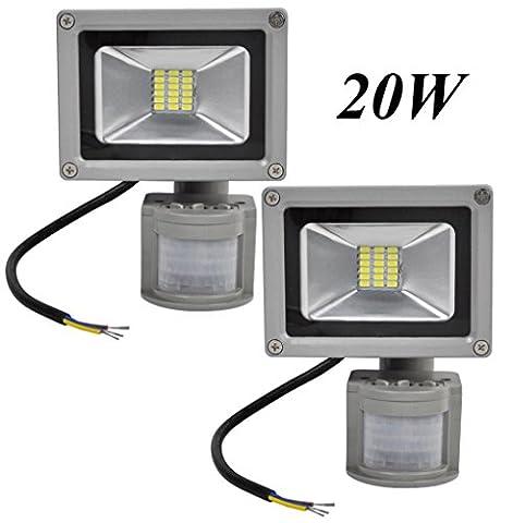 Leetop 2X 20W LED SMD Strahler Fluter Außen Strahler mit PIR Bewegungsmelder Fluter IP65 Aluminiumkörper Grau Kaltweiß