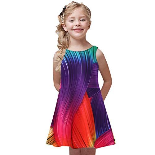 Innerternet Kleinkind Mädchen Sommer Prinzessin Kleid Kinder Baby Printing Party ärmellose Kleid Kinder ärmellose Blumen Patchwork Kleid passende Familie Kleidung A-Linien Freizeit Midi Kleider