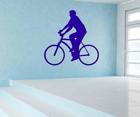 Sticker mural Vélo Cycliste Vélos de route Autocollant Mur Portrait 5 G 012 - Orange pastel brillant, 50cm