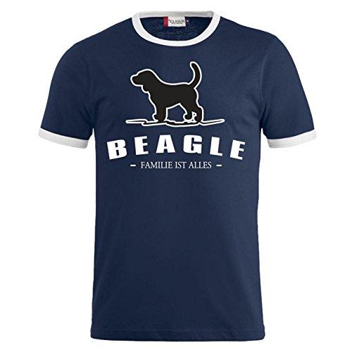 Männer und Herren T-Shirt Beagle - Familie ist alles Dunkelblau/Weiß