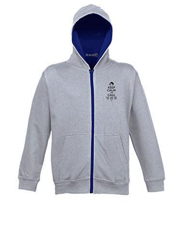 Computer Fitted T-shirt (Keep Calm and Call, Kinder Uni-Jacke Mit Reissverschluss - Grau & Marine Blau 5-6 Jahre)