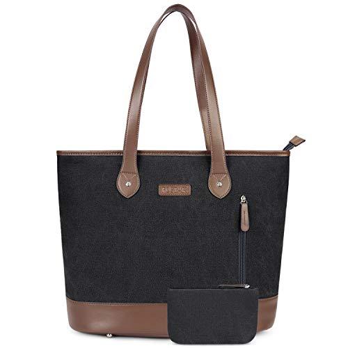 UtoteBag 15,6 Zoll Damen Laptoptasche Canvas Laptop Schultertasche Umhängetasche Leichte Stylische Tote Bag für Frauen Business Aktentasche Handtasche für 15,6'' Laptop Notebook -