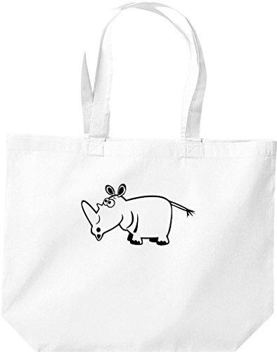 grande borsa della spesa, SHOPPER FUNNY ANIMALE Rhino Bianco