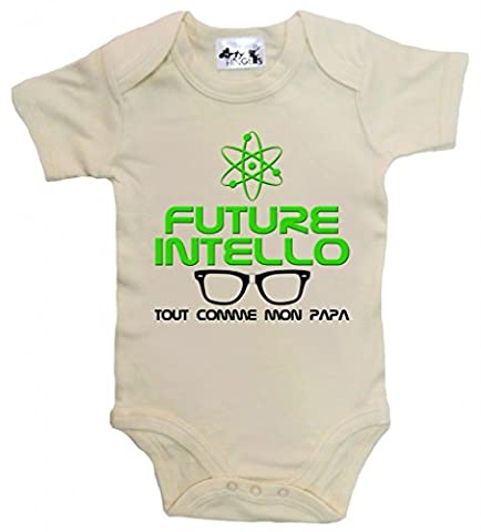 Dirty Fingers, Future Intello tout comme mon Papa, Body bébé, 3-6m, Beige