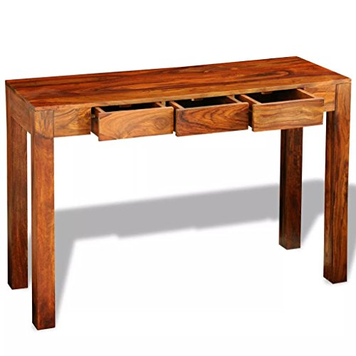 Vislone Schreibtisch mit 3 Schubladen Massivholz Konsolentisch Beistelltisch 120 x 40 x 80 cm Sheesham Braun