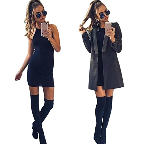 Tonsee Femme mince Sexy Bandage robe Bodycon Mesdames crayon Party Robe Noir