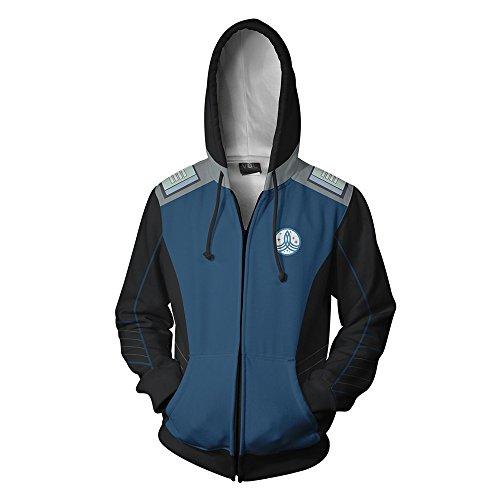 Zhangjianwangluokeji Herren Damen Warship Kostüm Halloween Cosplay Hoodie 3D Printed Jacket (XXX-Large, Blau)