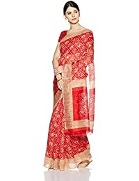 Womanista Women's Printed Art Silk Sari With Blouse Piece(FSP403_Red And Beige_Free Size)
