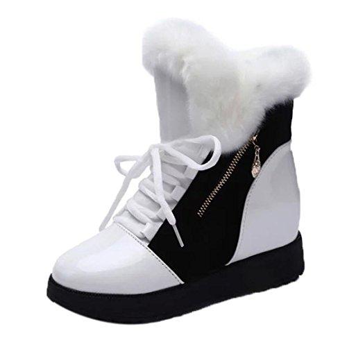 FEITONG Frauen Stiefel Frauen Schneestiefel Runder Zeh Flache Schuhe Winter Kunstpelz Stiefeletten Warm Schuhe Outdoor Winterstiefel, Größe von 35-39 (EU:39=CN:40, Weiß)