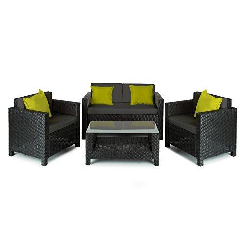 Blumfeldt Verona - Salon de Jardin 4 pièces : canapé 2 Places, 2 fauteuils et Table avec Plateau en Verre (Espace de Rangement sous canapé, Coussins Inclus) - Noir/Vert