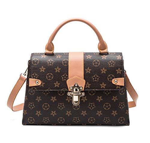 Blumen Fur Bag (Star mit der alten Blume Handtasche Tasche weiblich 2019 neue einfache wilde Messenger Bag Schulter Messenger Bag (brown, 30 * 11 * 19cm))