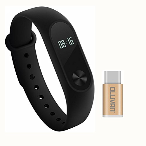 Ollivan Original Xiaomi Mi Band 2 Smart Band Fitnessarmband, OLED-Display, Touchpad, Herzfrequenz-Monitor, Schrittzähler, wasserdicht, kabellos, Bluetooth 4.0, schwarz, Newest Xiaomi Mi Band 1S