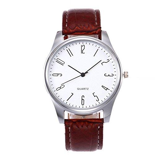 IG-Invictus Mens Simple Business Fashion Leder Quarz-Armbanduhr Einfache Zifferblatt Gürtel Herrenuhr B