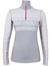Dale of Norway - Jersey para Mujer Rondane, Color Gris Claro/Blanco Jaspeado/Allium, Talla M, 92681-E