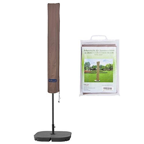 Schutzhülle für Sonnenschirm bis ca. Ø 300cm Premium Qualität aus hochwertigem 300GSM 600D Oxford Material - Taupe