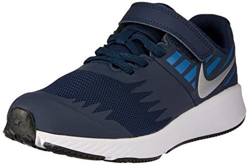Nike Jungen Star Runner (PSV) Laufschuhe, Mehrfarbig (Obsidian/Metallic Silver/Signal Blue 406), 32 EU -