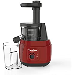 Moulinex ZU150510 Extracteur de Jus Juiceo Fruits et Légumes Pressoir 150W Pressage à Froid 80 tours / minute Rouge